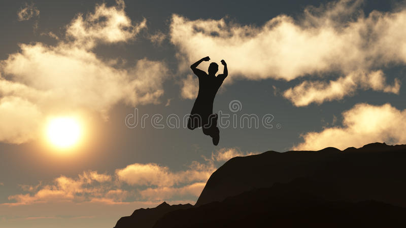 Silhueta do homem de salto de uma rocha ilustração do vetor