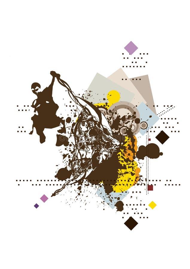 Silhueta do homem de salto no fundo abstrato floral & do grunge ilustração stock
