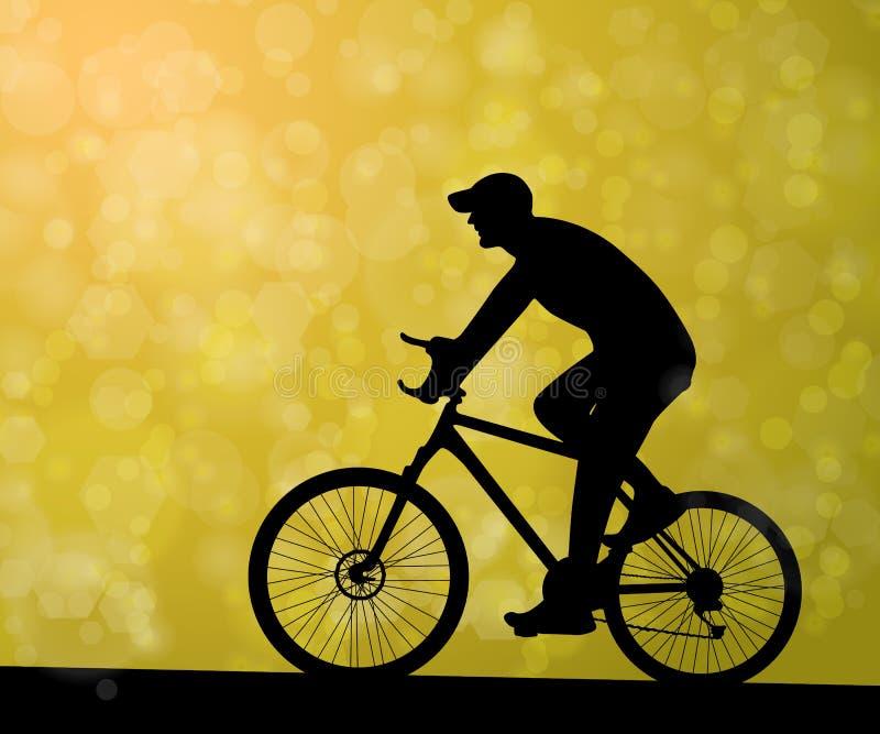 Silhueta do homem do ciclista fora ilustração do vetor