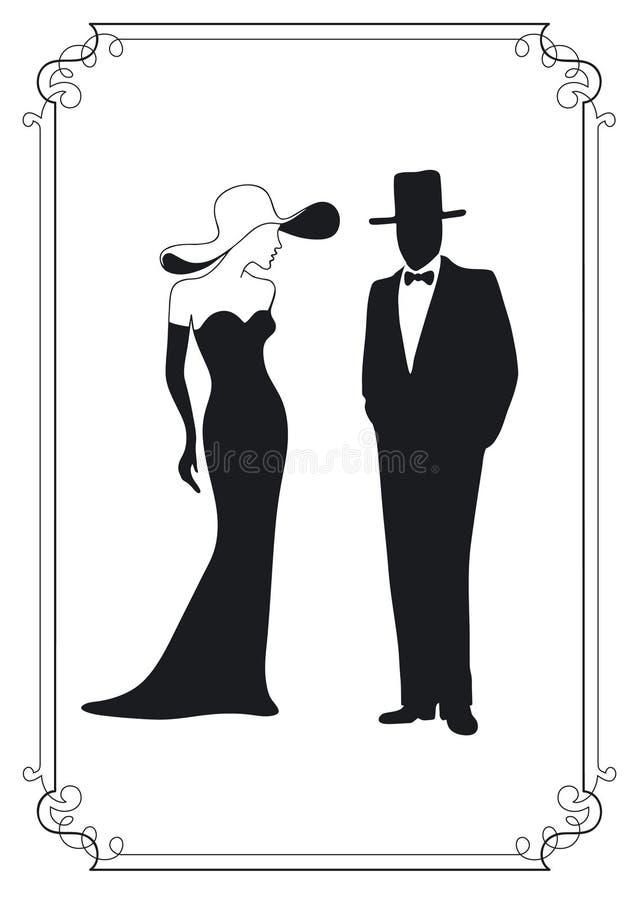 Silhueta do homem e da mulher ilustração stock