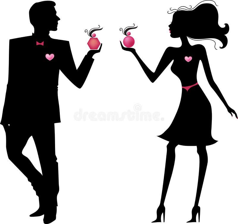 Silhueta do homem e da mulher com perfumes ilustração royalty free