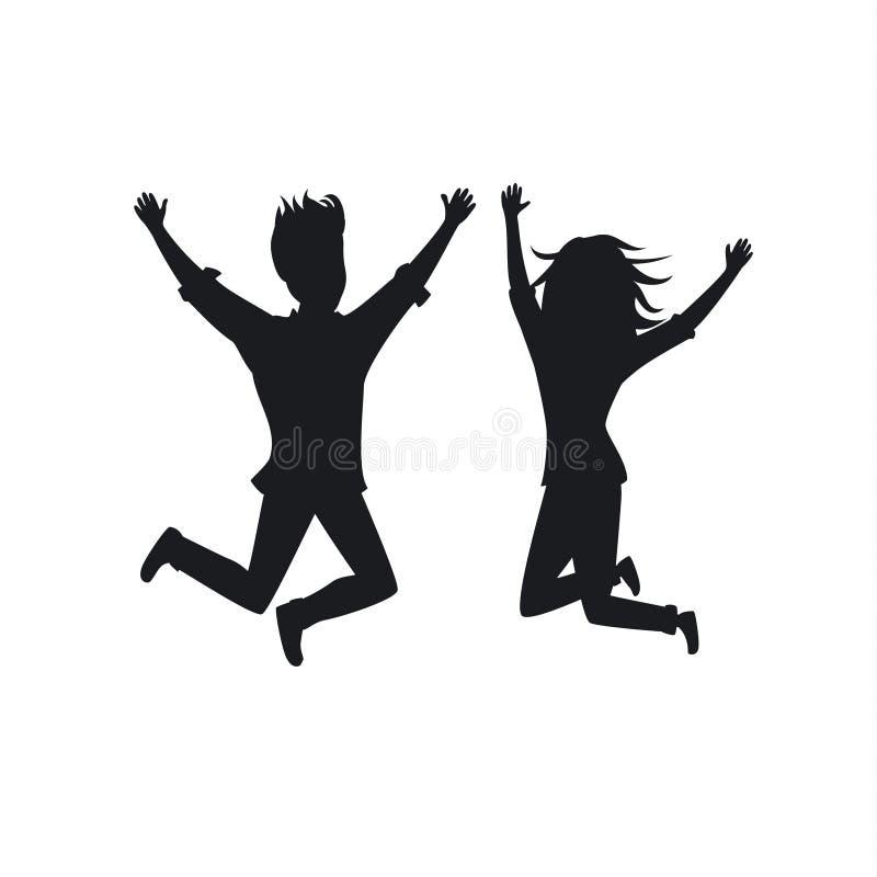 Silhueta do homem e da mulher dos pares que saltam para a alegria ilustração royalty free
