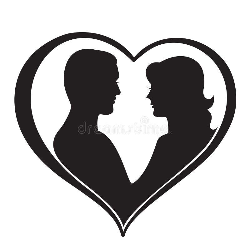Silhueta do homem e da mulher na forma do coração ilustração royalty free