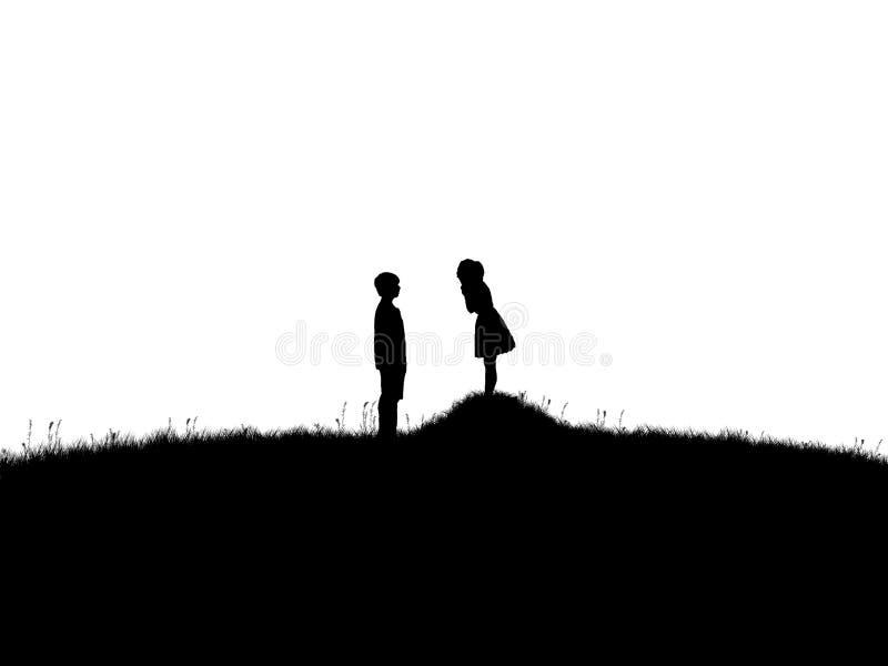 Silhueta do homem e da mulher sobre fundos isolados e brancos da grama e do monte, Valentim romântico ilustração stock