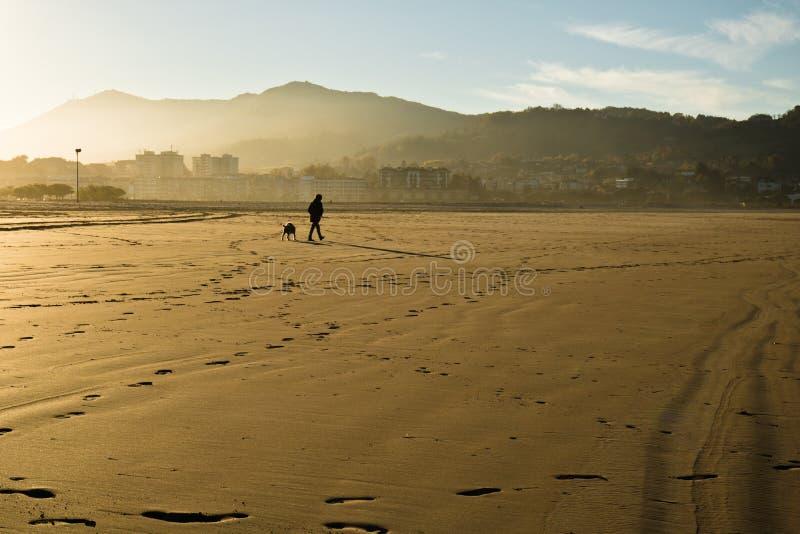 Silhueta do homem e do cão que andam em um Sandy Beach por Oceano Atlântico fotos de stock