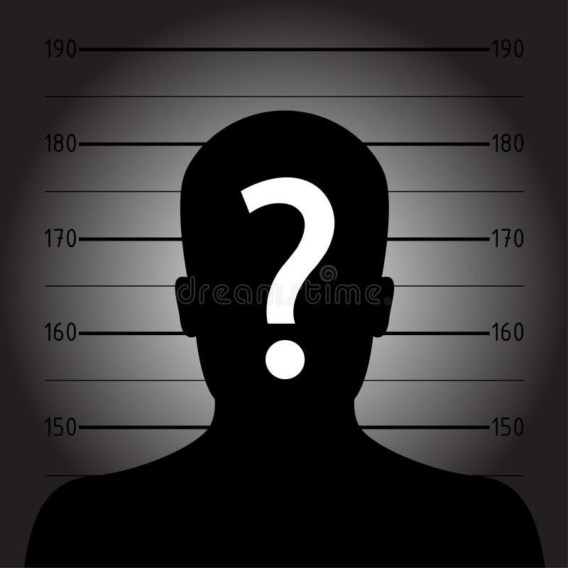 Silhueta do homem anônimo na formação do mugshot ou da polícia ilustração do vetor