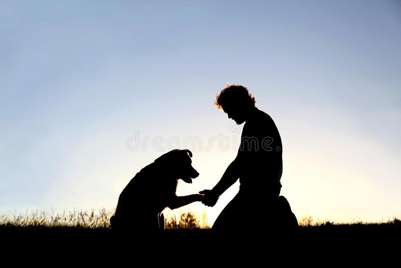 Silhueta do homem que agita as m?os com seu Loyal Pet Dog imagens de stock