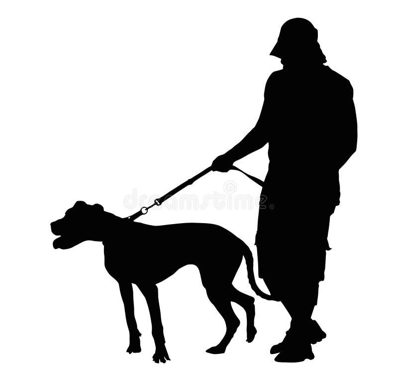 Silhueta do homem que anda seu cão ilustração stock