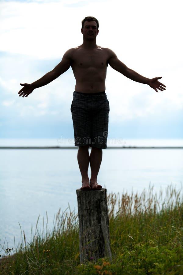 Silhueta do homem que faz a ioga em um coto na natureza fotos de stock royalty free