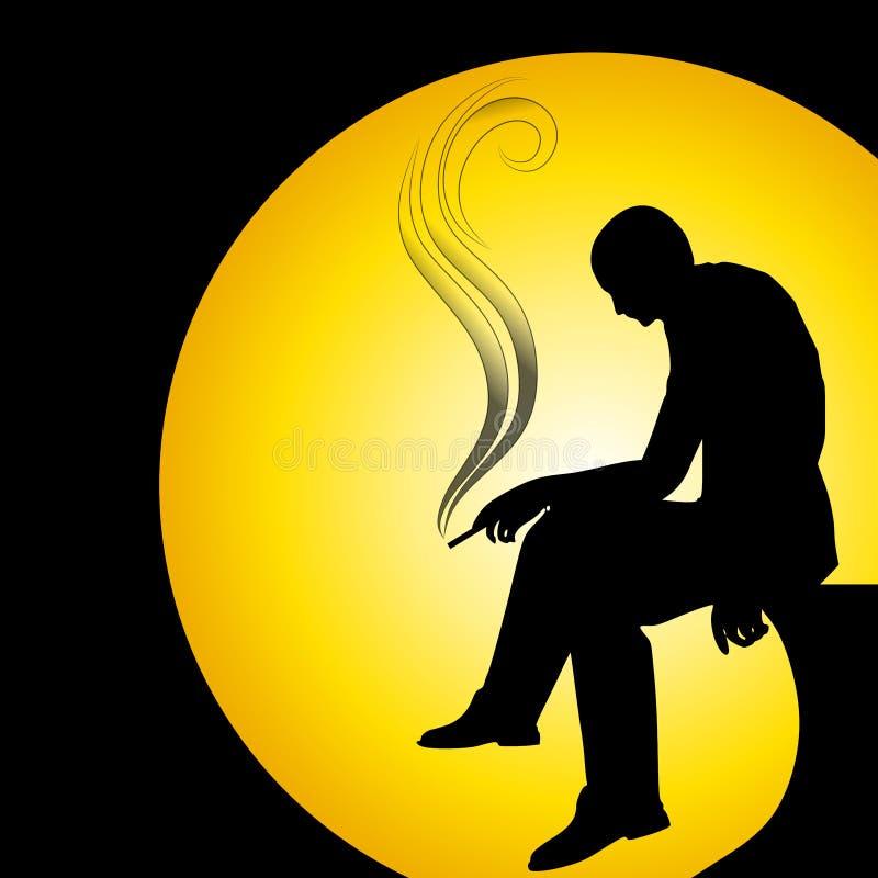 Silhueta do homem que fuma sozinho ilustração do vetor