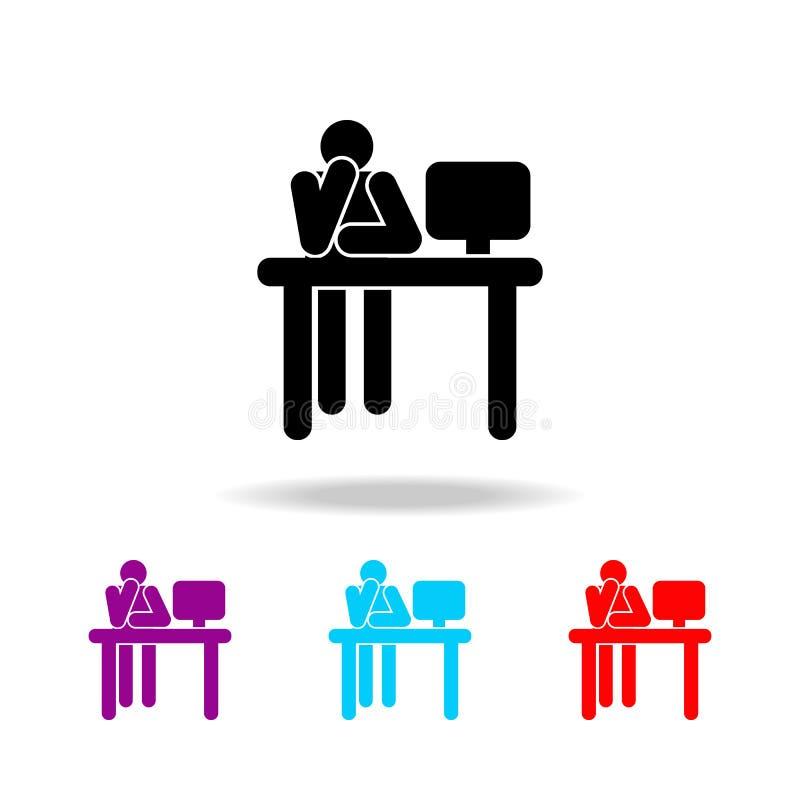 Silhueta do homem que trabalha no ícone do computador Elementos dos povos em atividades diferentes em multi ícones coloridos Grap ilustração do vetor