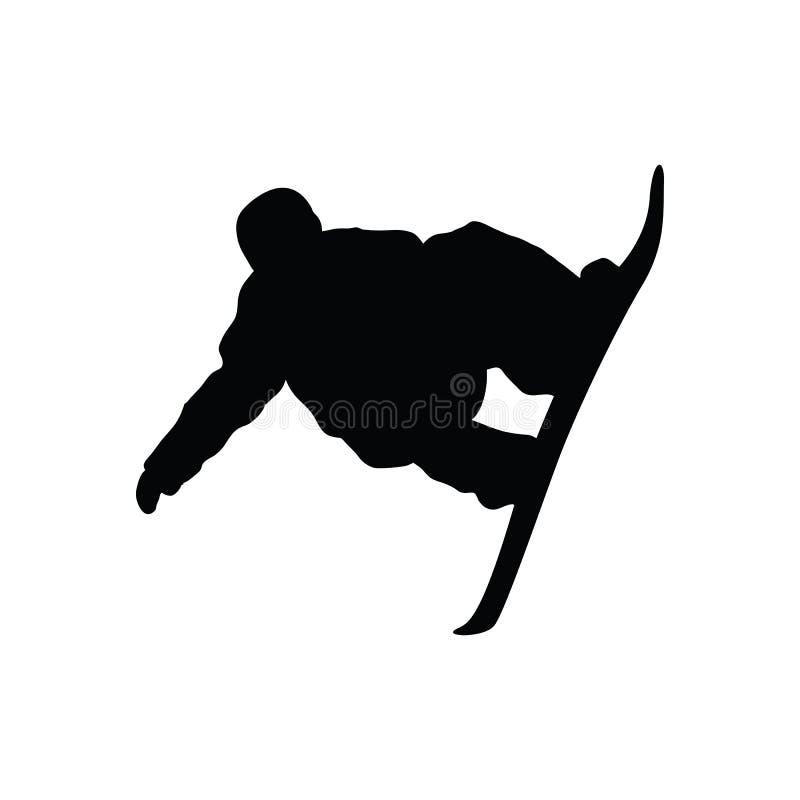Silhueta do homem do Snowboarder ilustração royalty free