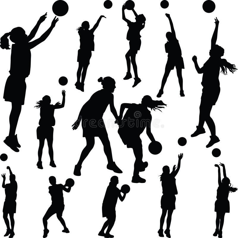 Silhueta do jogador da mulher do basquetebol ilustração royalty free