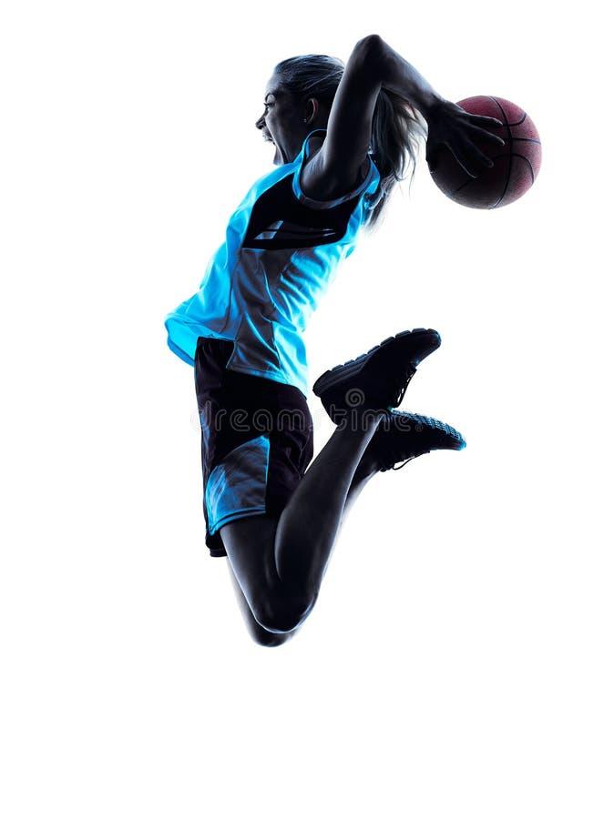 Silhueta do jogador de basquetebol da mulher fotos de stock royalty free