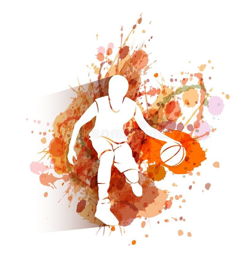 Silhueta do jogador de basquetebol no fundo da aquarela ilustração stock
