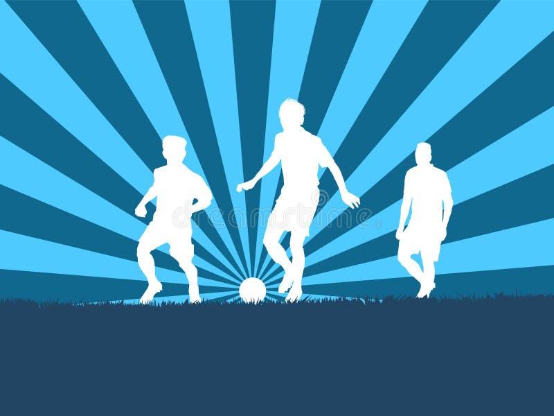 silhueta do jogador de futebol do grupo ilustração royalty free