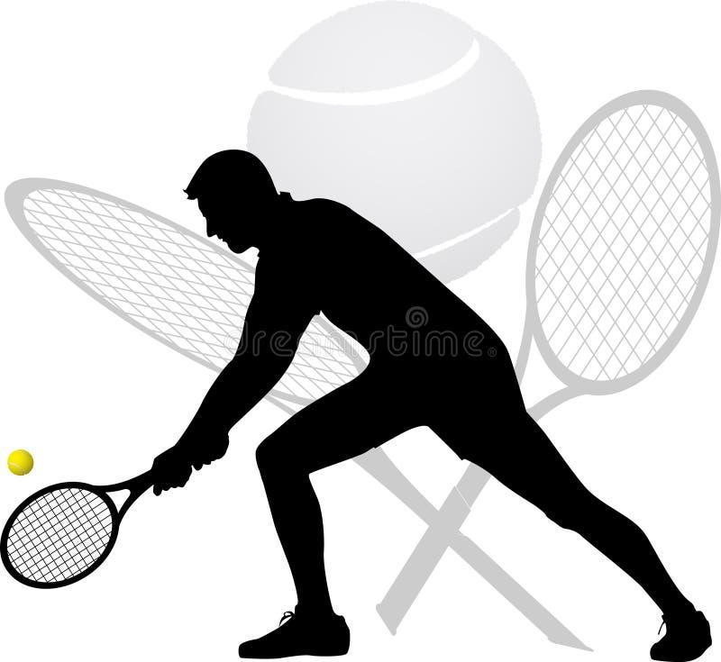 Silhueta do jogador de tênis imagens de stock
