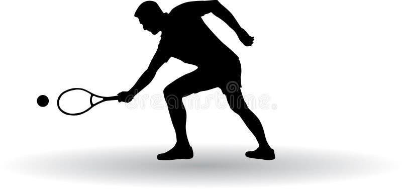 Silhueta do jogador de tênis imagens de stock royalty free