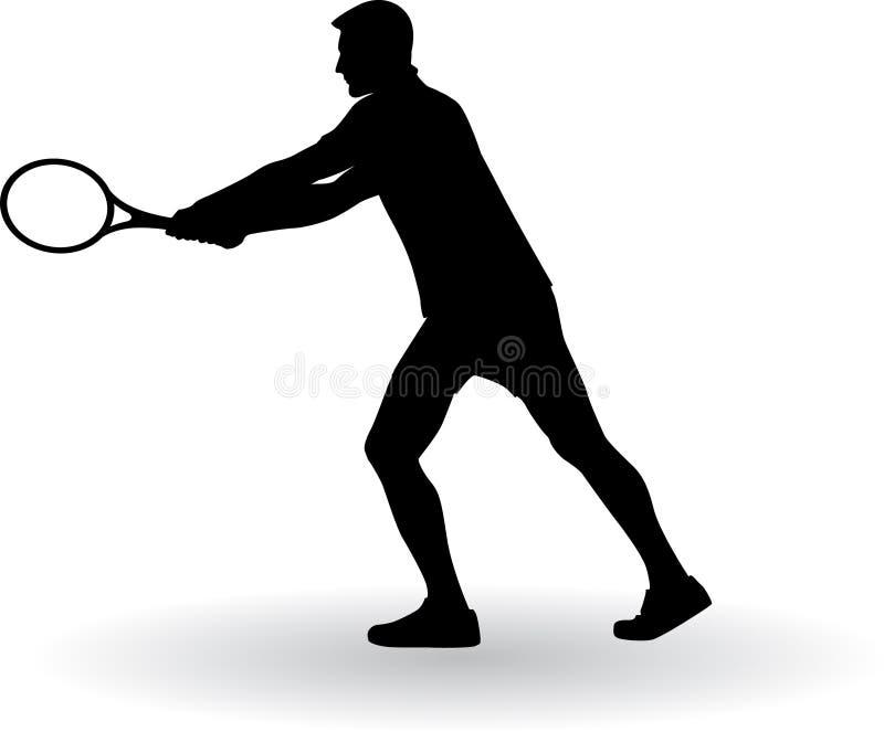 Silhueta do jogador de tênis fotos de stock