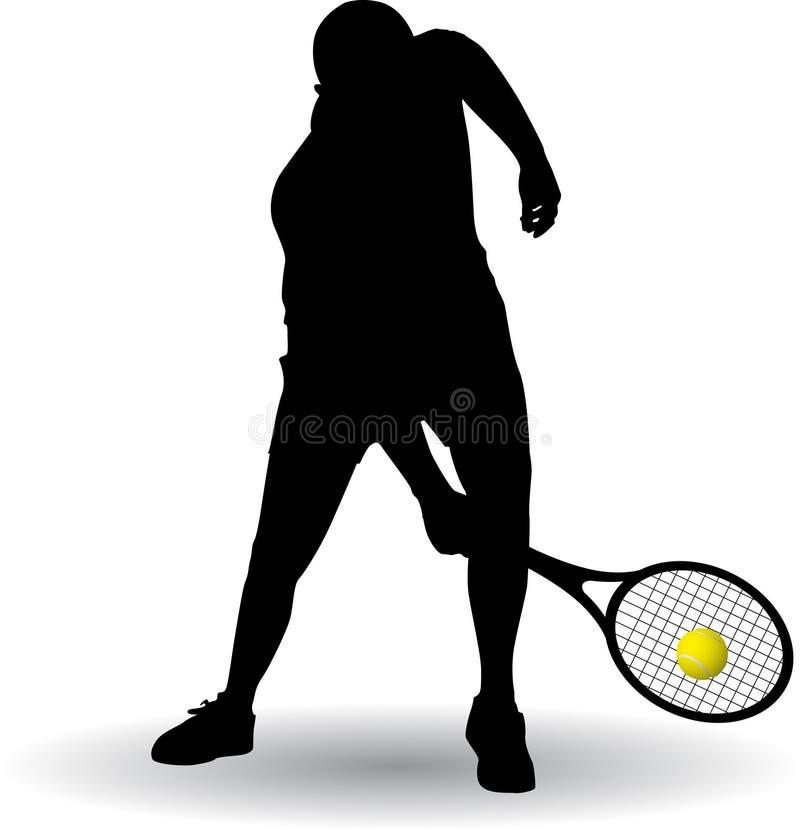 Silhueta do jogador de tênis imagem de stock