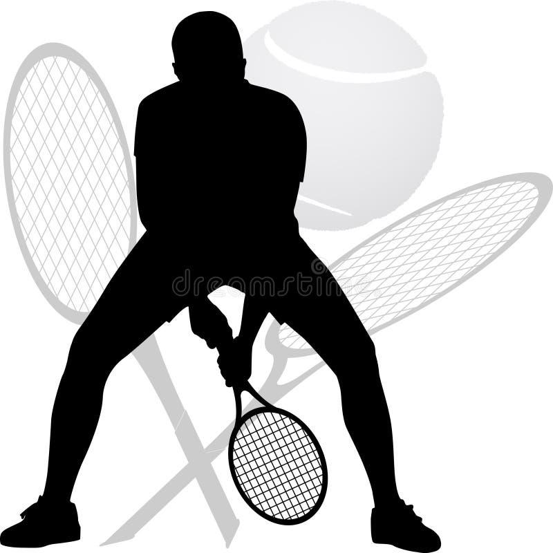 Silhueta do jogador de tênis fotos de stock royalty free