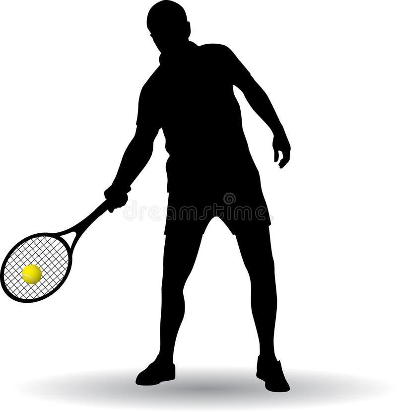 Silhueta do jogador de tênis foto de stock