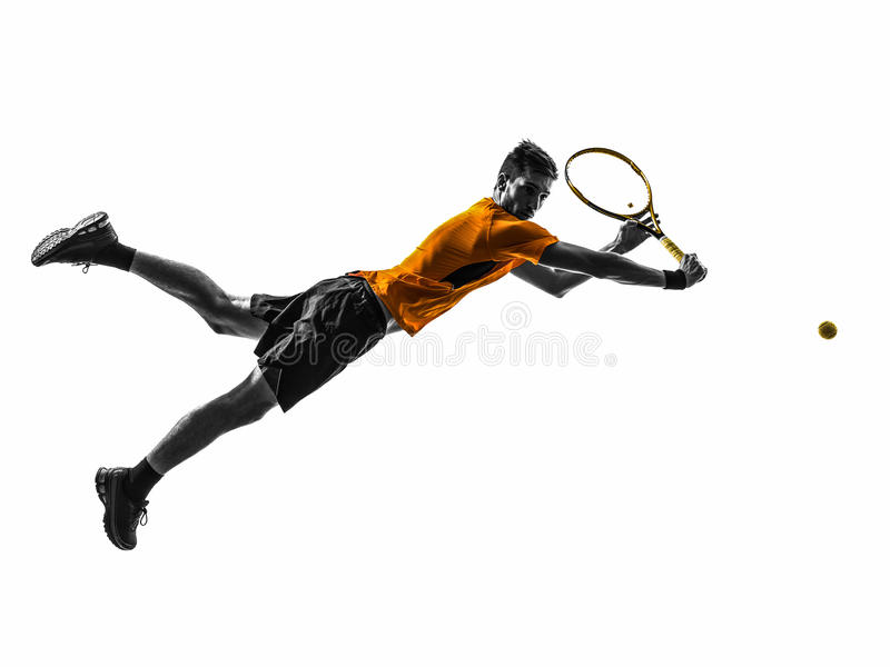 Silhueta do jogador de tênis do homem fotografia de stock