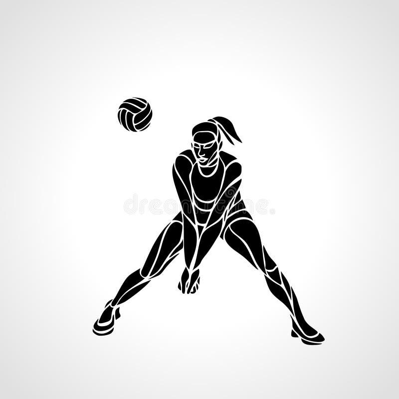 Silhueta do jogador de voleibol da mulher que passa a bola ilustração stock