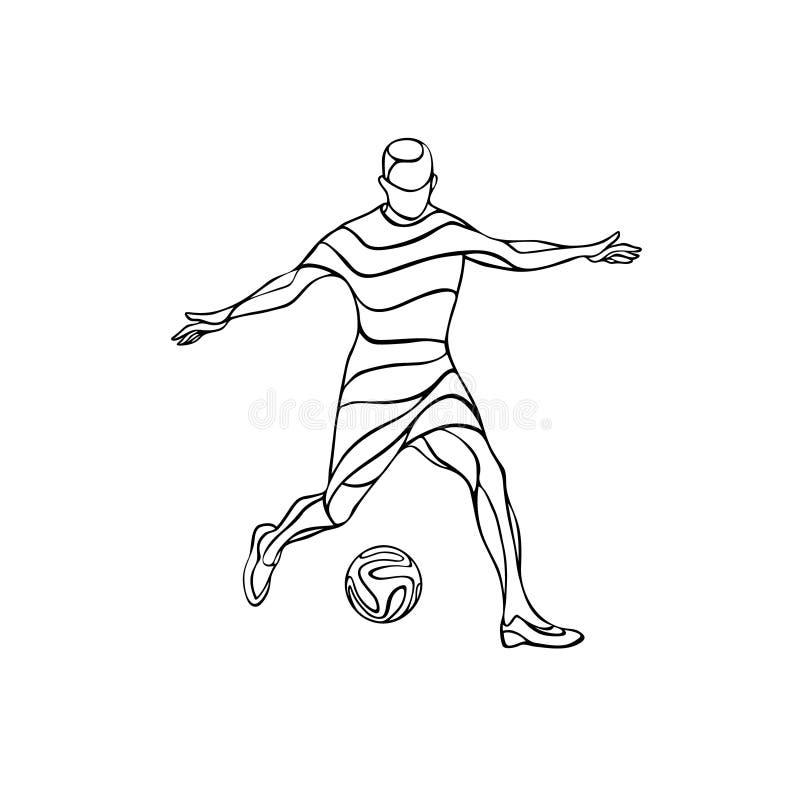 Silhueta do jogador do futebol ou de futebol com a bola isolada ilustração do vetor