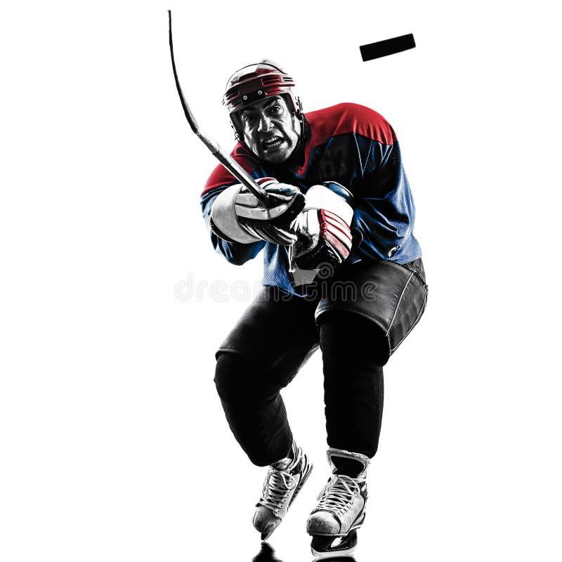 Silhueta do jogador do homem do hóquei em gelo fotografia de stock royalty free