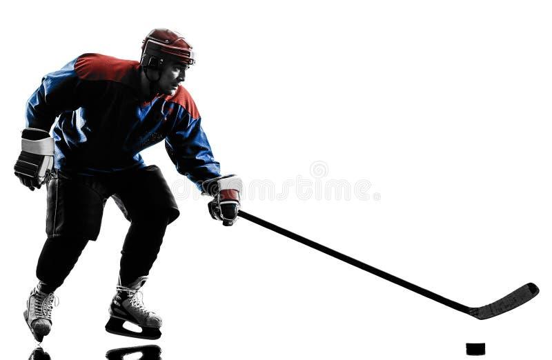 Silhueta do jogador do homem do hóquei em gelo imagem de stock