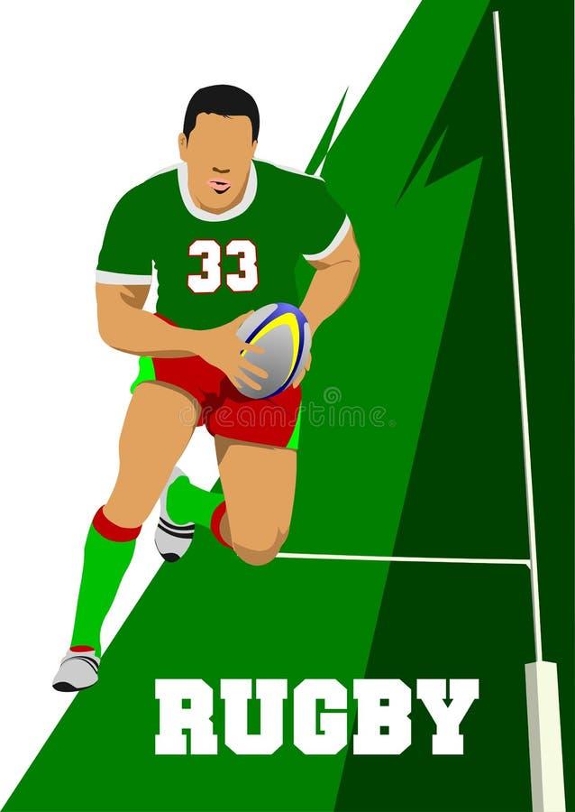 Silhueta do jogador do rugby ilustração royalty free