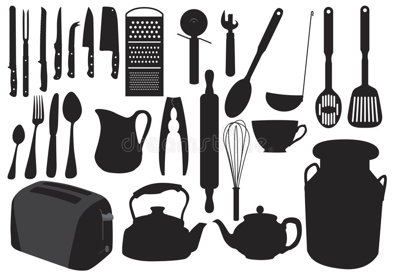 Silhueta do Kitchenware ilustração stock