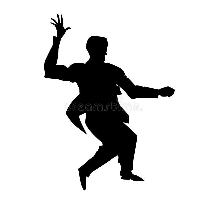 Silhueta do lúpulo lindy da dança do homem Dançarino retro para o cartaz, estúdio do inseto de danças sociais Ilustra??o preto e  ilustração do vetor