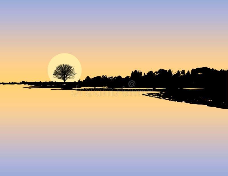 Silhueta do lago sunset ilustração stock
