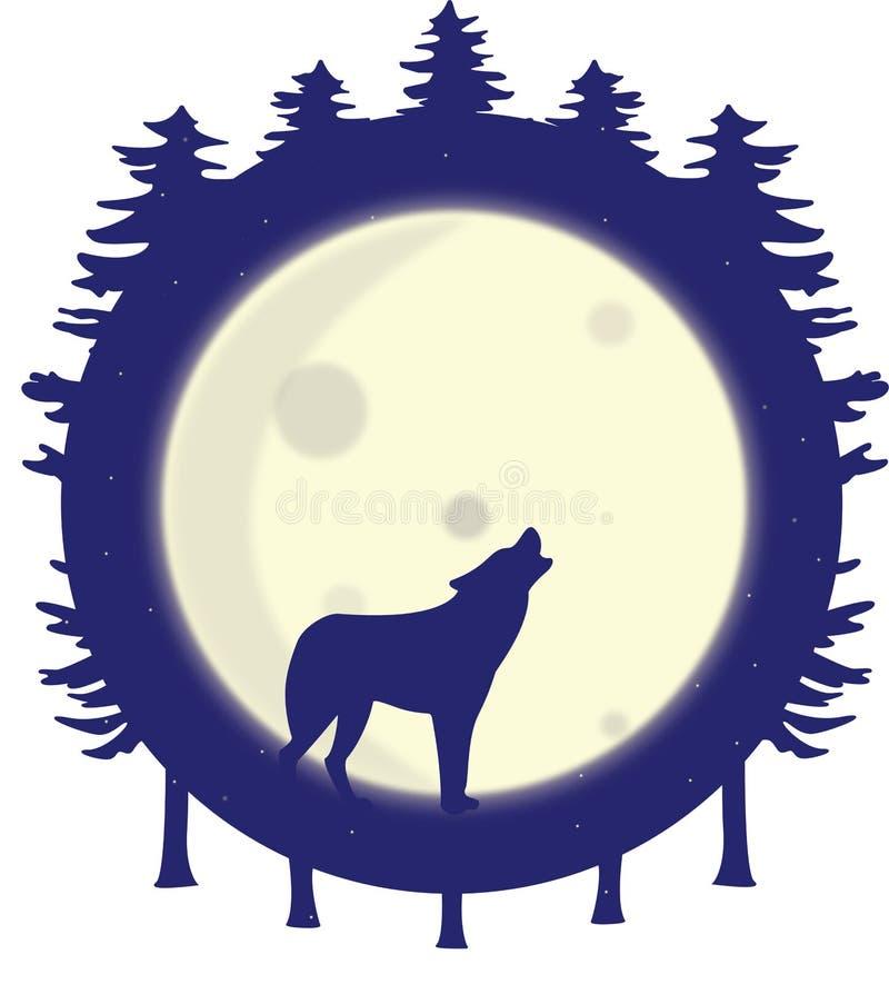 Silhueta do lobo que urra na Lua cheia na floresta ilustração stock