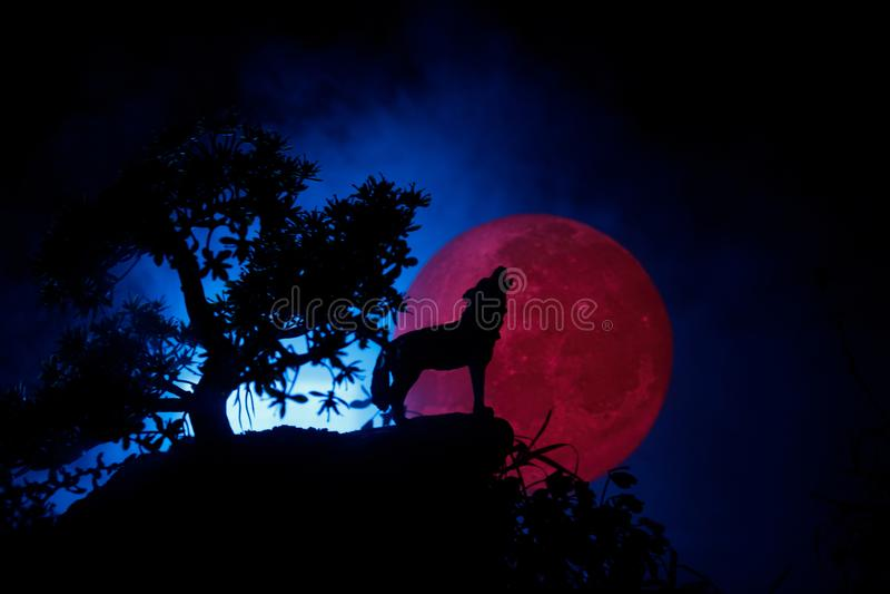 Silhueta do lobo do urro contra o fundo escuro e Lua cheia ou lobo nevoento tonificado na silhueta que urram ao máximo a lua hall imagem de stock royalty free