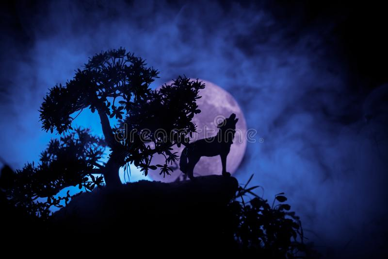 Silhueta do lobo do urro contra o fundo escuro e Lua cheia ou lobo nevoento tonificado na silhueta que urram ao máximo a lua hall imagem de stock