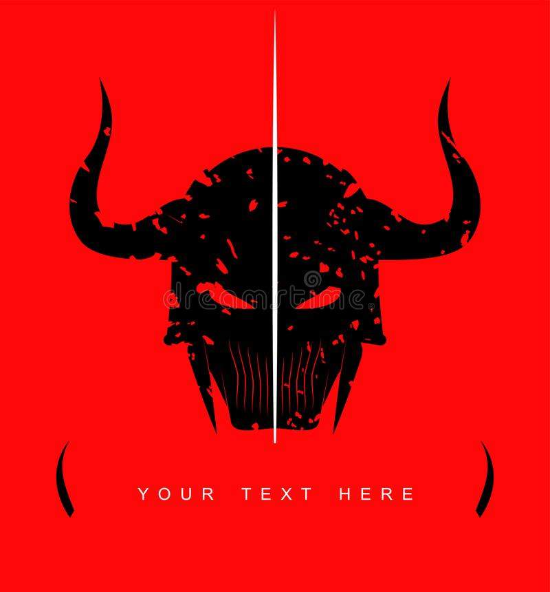 Silhueta do logotipo horned preto do guerreiro ilustração stock