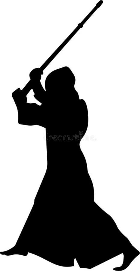 Silhueta do lutador #2 de Kendo ilustração do vetor