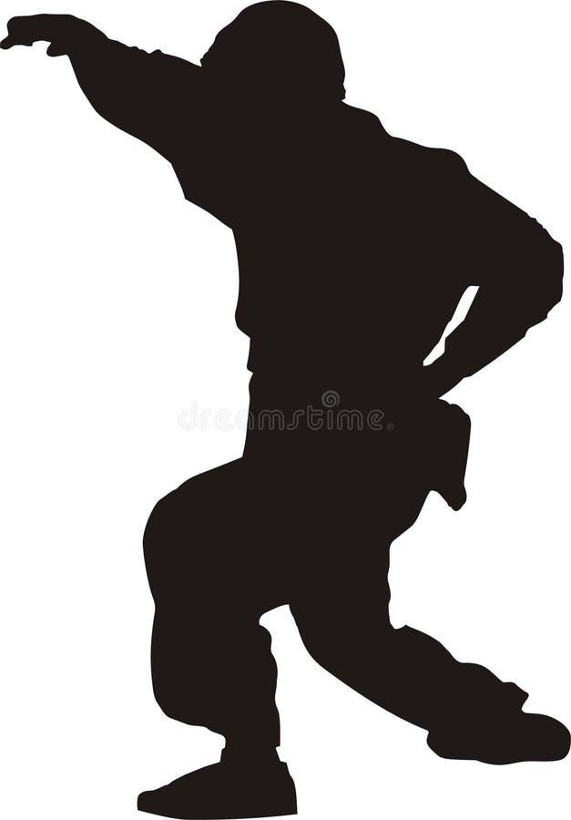 Silhueta do lutador de Jiu-jitsu ilustração stock