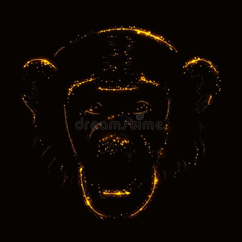 Silhueta do macaco das luzes ilustração do vetor