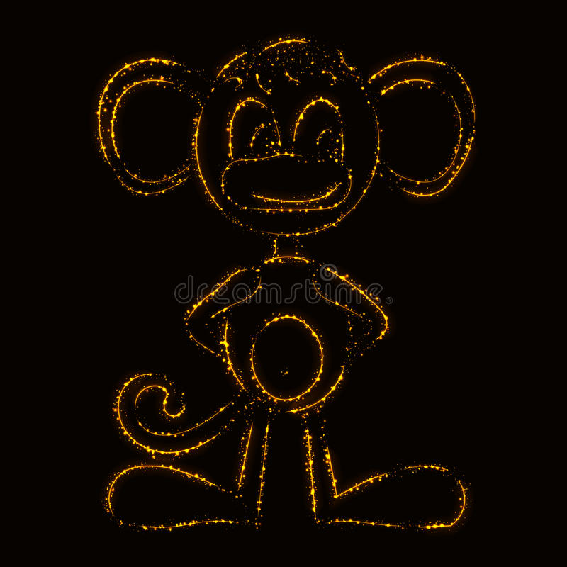 Silhueta do macaco das luzes ilustração royalty free