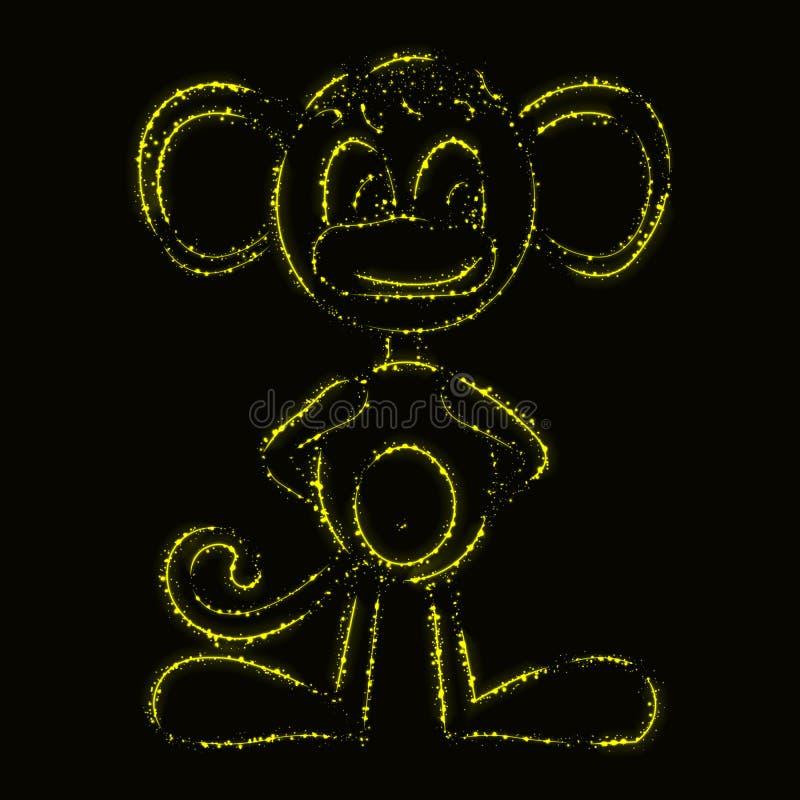 Silhueta do macaco das luzes ilustração stock