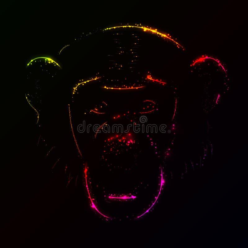 Silhueta do macaco de luzes do inclinação ilustração stock