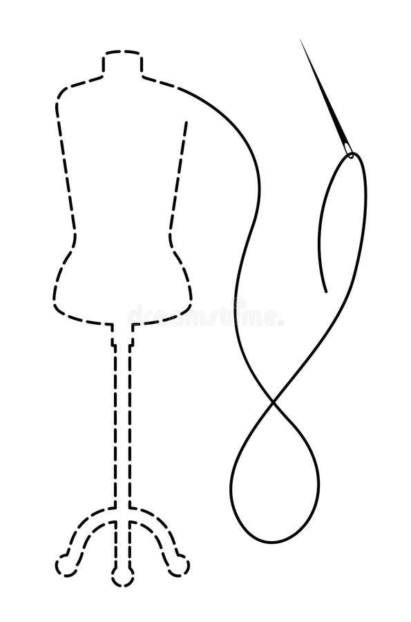 Silhueta do manequim com contorno interrompido Ilustração feito à mão do vetor com linha e agulha do bordado ilustração stock