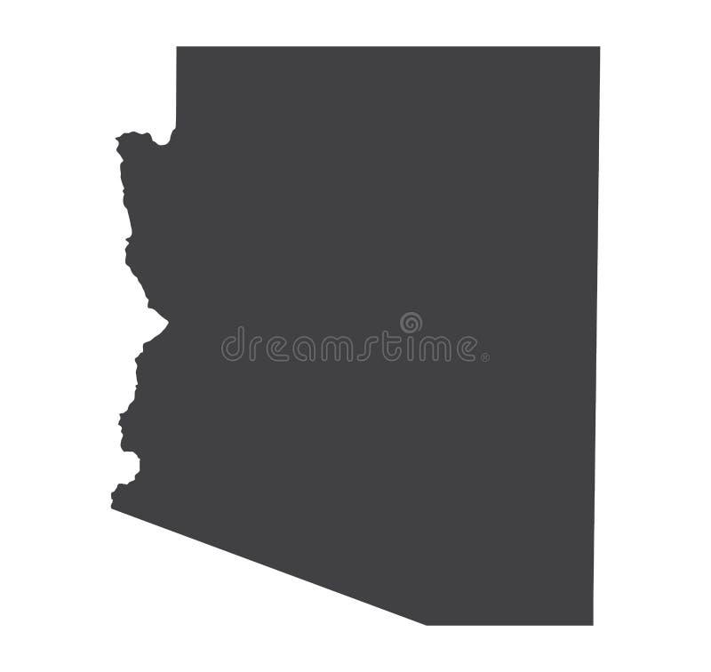 Silhueta do mapa do Arizona do vetor ilustração royalty free