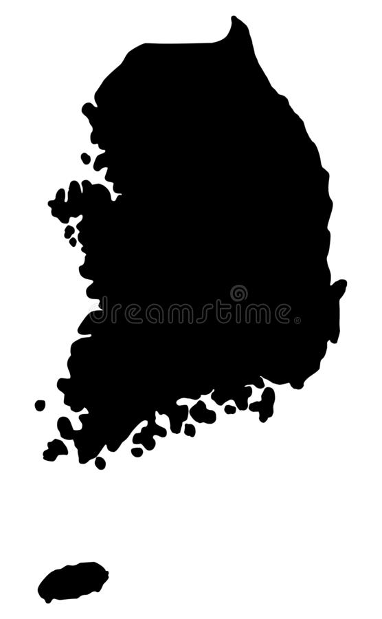 Silhueta do mapa de Coreia do Sul ilustração do vetor