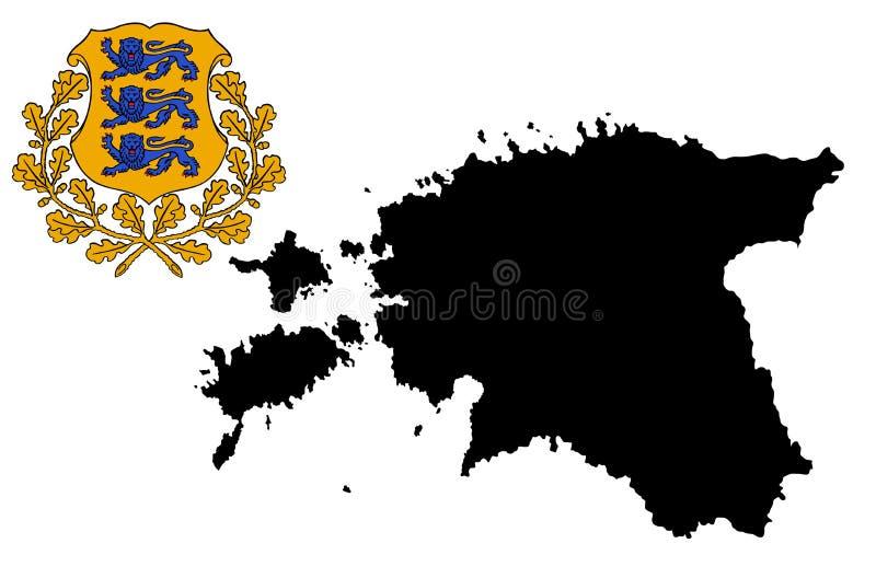 Silhueta do mapa de Estônia Brasão de Estônia, emblema, símbolo nacional Protetor ou crista de Estônia ilustração royalty free