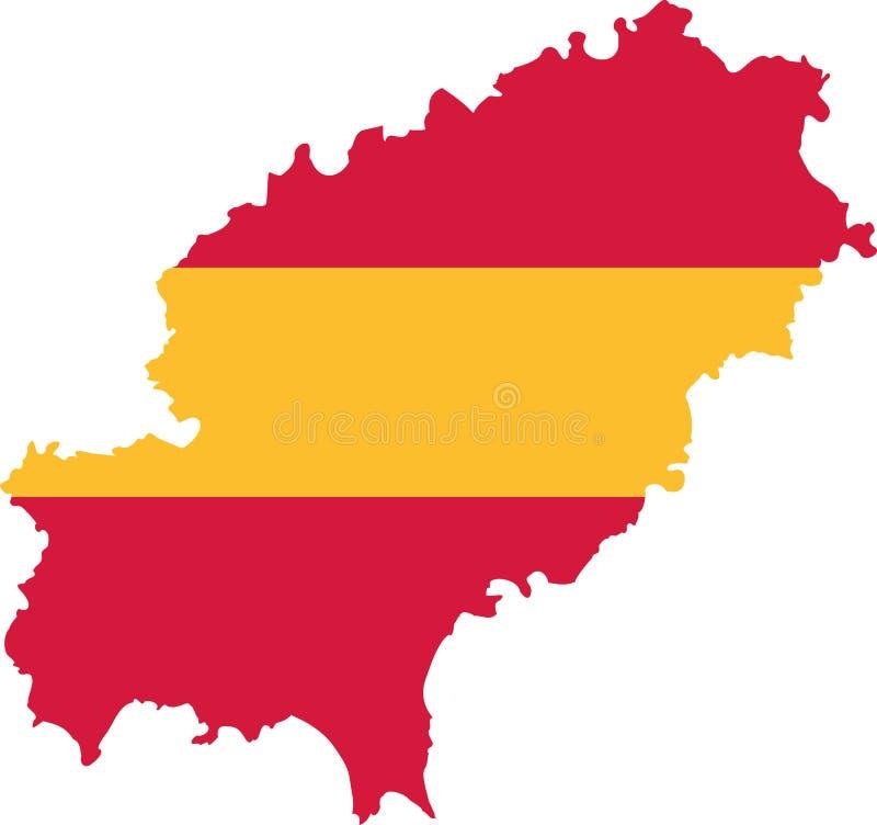 Silhueta do mapa de Ibiza com bandeira ilustração royalty free